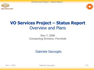 VO Services Project – Status Report Overview and Plans