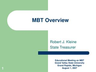 MBT Overview