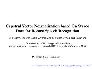 Cepstral Vector Normalization based On Stereo Data for Robust Speech Recognition