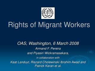 Rights of Migrant Workers
