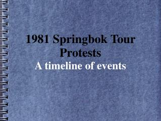1981 Springbok Tour Protests A timeline of events