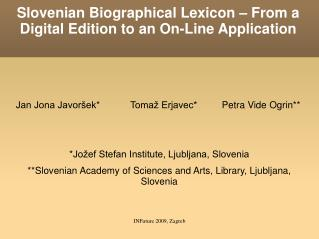 Slovenian Biographical Lexicon – From a Digital Edition to an On-Line Application