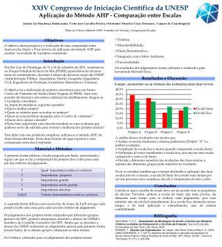 XXIV Congresso de Iniciação Científica da UNESP Aplicação do Método AHP - Comparação entre Escalas