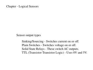 Chapter - Logical Sensors