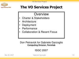 The VO Services Project