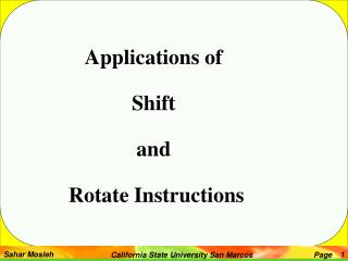 Applications of Shift  and  Rotate Instructions