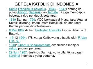 GEREJA KATOLIK DI INDONESIA