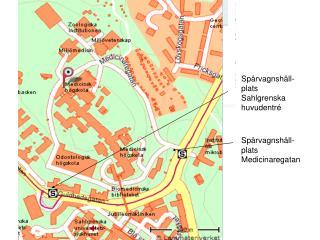 Spårvagnshåll-plats Sahlgrenska huvudentré
