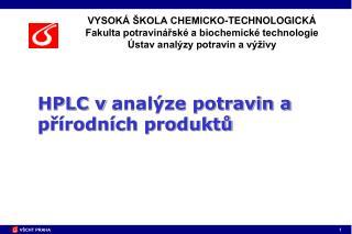 HPLC vanalýze potravin a přírodních produktů