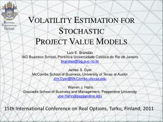Volatility Estimation for Stochastic  Project Value Models