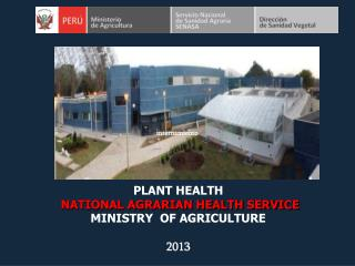 PLANT HEALTH  NATIONAL AGRARIAN HEALTH SERVICE MINISTRY  OF AGRICULTURE 2013