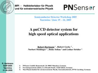 A pnCCD detector system for high speed optical applications