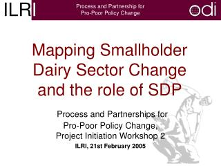 Mapping Smallholder Dairy Sector Change and the role of SDP