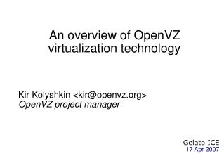 An overview of OpenVZ virtualization technology