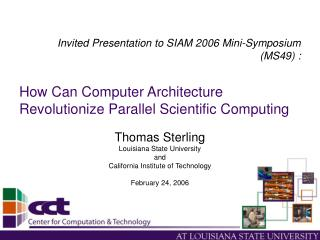 How Can Computer Architecture Revolutionize Parallel Scientific Computing