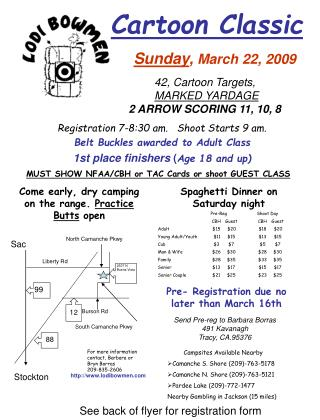 Registration 7-8:30 am.   Shoot Starts 9 am.  Belt Buckles awarded to Adult Class  1st place finishers Age 18 and up