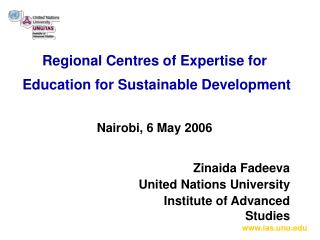 Regional Centres of Expertise for  Education for Sustainable Development Nairobi, 6 May 2006