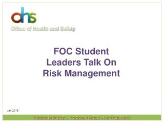 FOC Student Leaders Talk On Risk Management