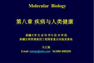 新疆大学 生 命 科 学与 技 术 学 院  新疆生物资源基因工程国家重点实验室基地 马正海 E-mail:  mzhxju@sohu   Tel:0991-8583259