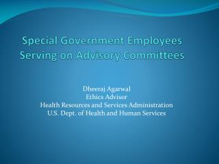 Special Government Employees Serving on Advisory Committees