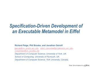 Specification-Driven Development of an Executable Metamodel in Eiffel