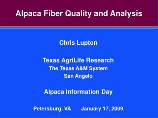 Alpaca Fiber Quality and Analysis