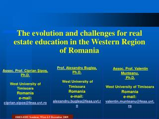 The evolution and challenges for real estate education in the Western Region of Romania