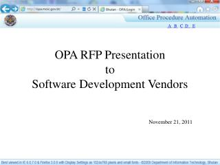 OPA RFP Presentation to  Software Development Vendors