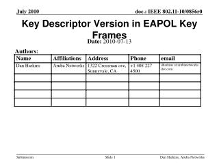 Key Descriptor Version in EAPOL Key Frames
