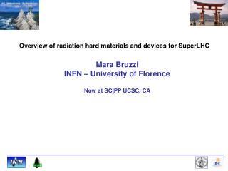 Mara Bruzzi INFN – University of Florence Now at SCIPP UCSC, CA