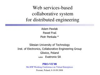 Web services-based  collaborative system  for distributed engineering