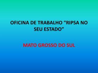 """OFICINA DE TRABALHO """"RIPSA NO SEU ESTADO"""""""