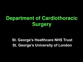 Department of Cardiothoracic Surgery