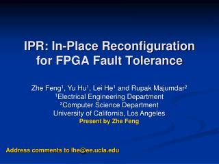 IPR: In-Place Reconfiguration  for FPGA Fault Tolerance