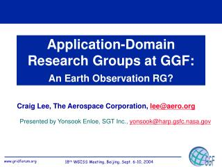 Application-Domain Research Groups at GGF: An Earth Observation RG?