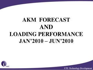 AKM  FORECAST  AND  LOADING PERFORMANCE JAN'2010 – JUN'2010