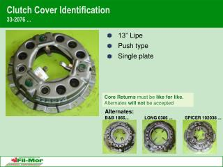Clutch Cover Identification 33-2076 ...