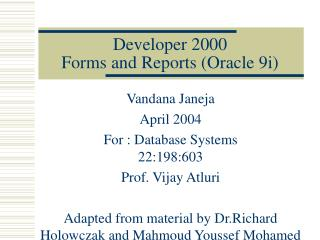 Developer 2000 Forms and Reports Oracle 9i