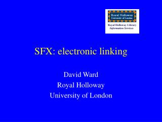 SFX: electronic linking