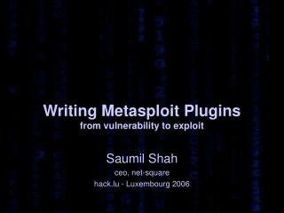 Writing Metasploit Plugins from vulnerability to exploit