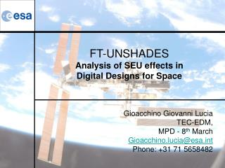 FT-UNSHADES Analysis of SEU effects in  Digital Designs for Space