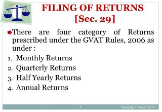 FILING OF RETURNS        [Sec. 29]