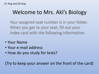 Welcome to Mrs. Akl's Biology