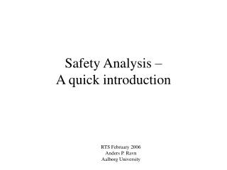 Safety Analysis –  A quick introduction