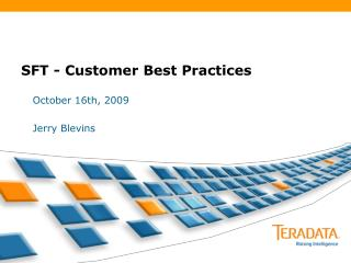 SFT - Customer Best Practices