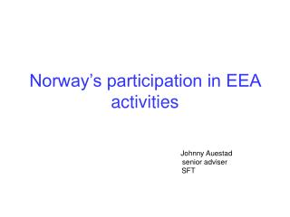 Norway's participation in EEA activities