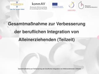Gesamtmaßnahme zur Verbesserung  der beruflichen Integration von  Alleinerziehenden (Teilzeit)