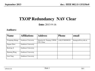TXOP Redundancy  NAV Clear