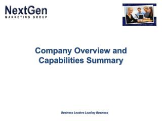 Company Overview and Capabilities Summary