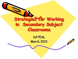 Strategies for Working in  Secondary Subject Classrooms